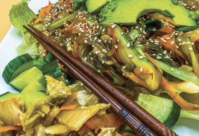 Korean vegetable stir fry featuring chopsticks